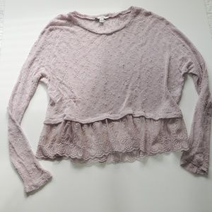 Lavender ball knit sweater lace trim size large
